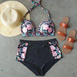 Shein Black Pink Floral High Waist Bikini XXL